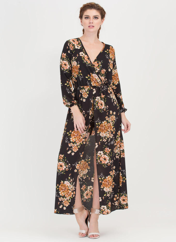 Floral Arrangement Plunging Maxi BLACK
