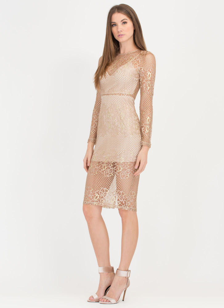 Fleur Sure Metallic Lace Midi Dress GOLD