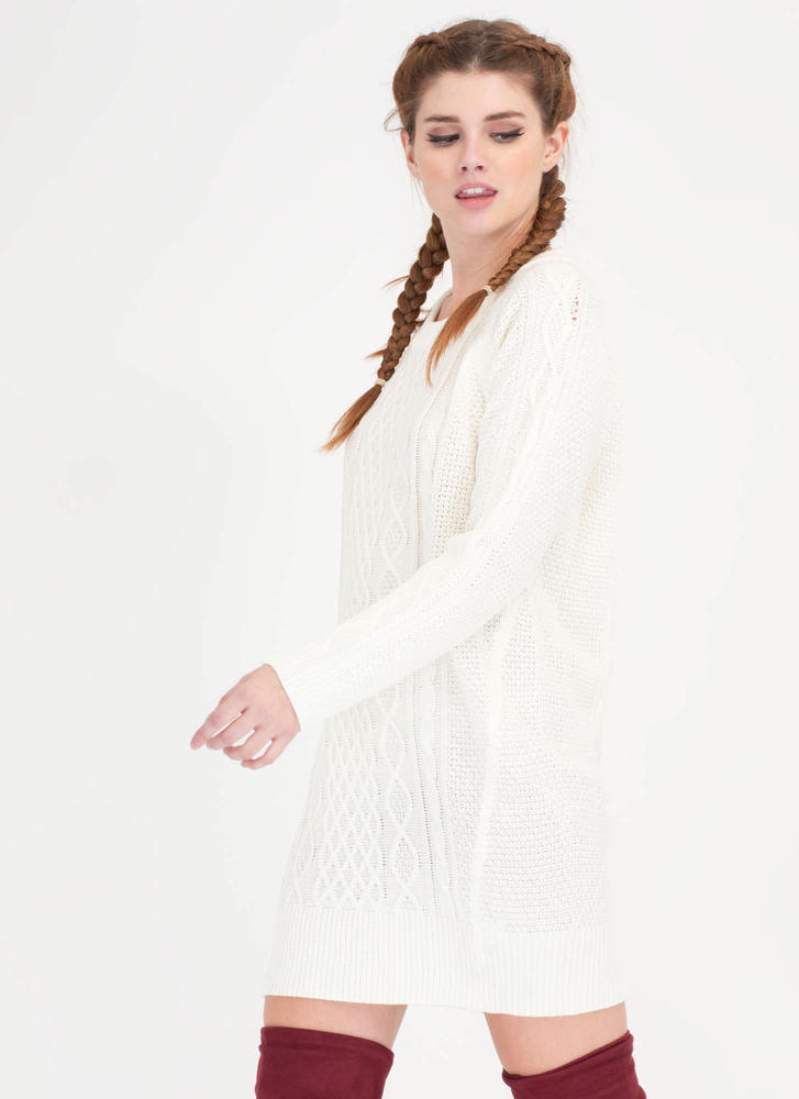 Warmest Regards Cable Knit Sweater Dress IVORY