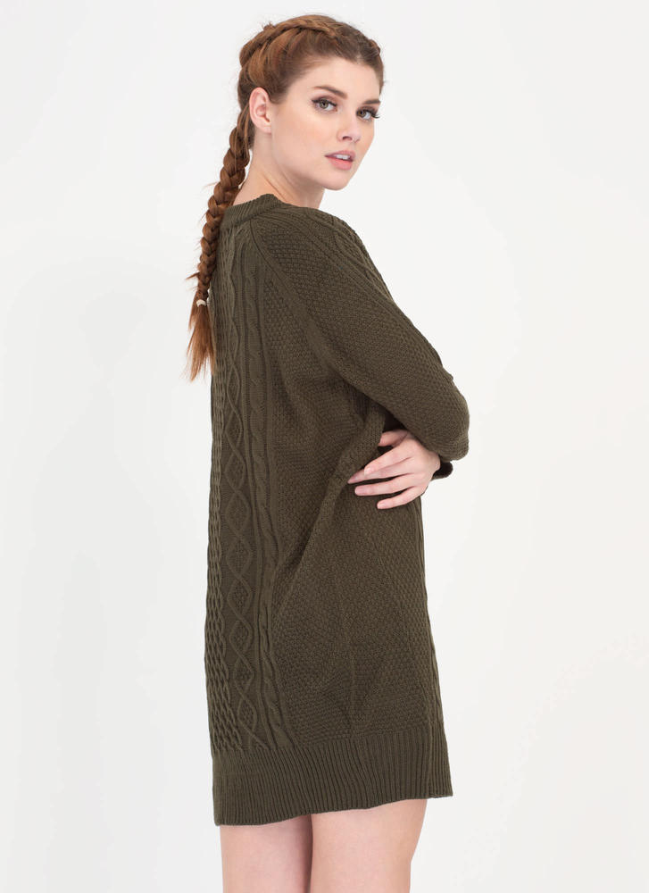 Warmest Regards Cable Knit Sweater Dress OLIVE
