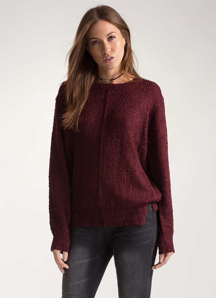 Feeling Centered Oversized Knit Sweater BURGUNDY