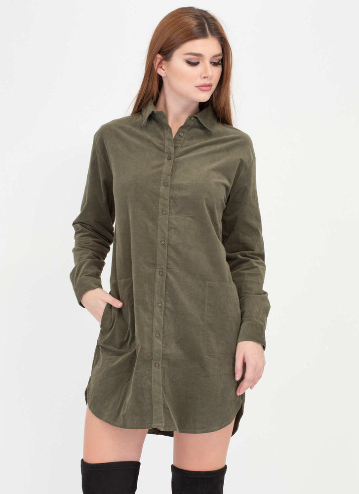 The Right Cord Corduroy Shirt Dress OLIVE