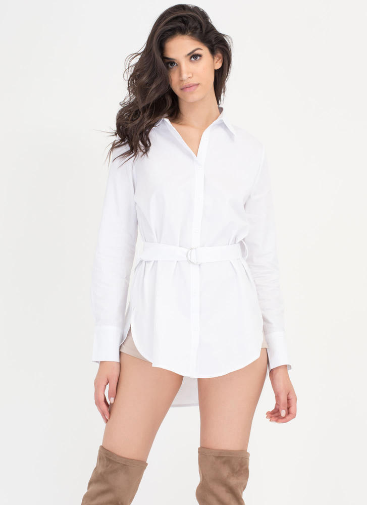 Short Story Belted Shirtdress WHITE (Final Sale)