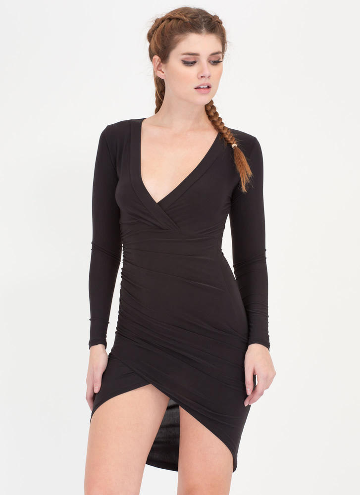 Uncommon Beauty Surplice High-Low Dress