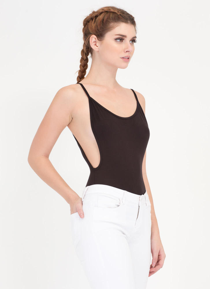 Use Your Muscle Open Back Bodysuit BLACK