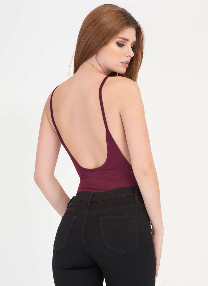 Use Your Muscle Open Back Bodysuit BURGUNDY