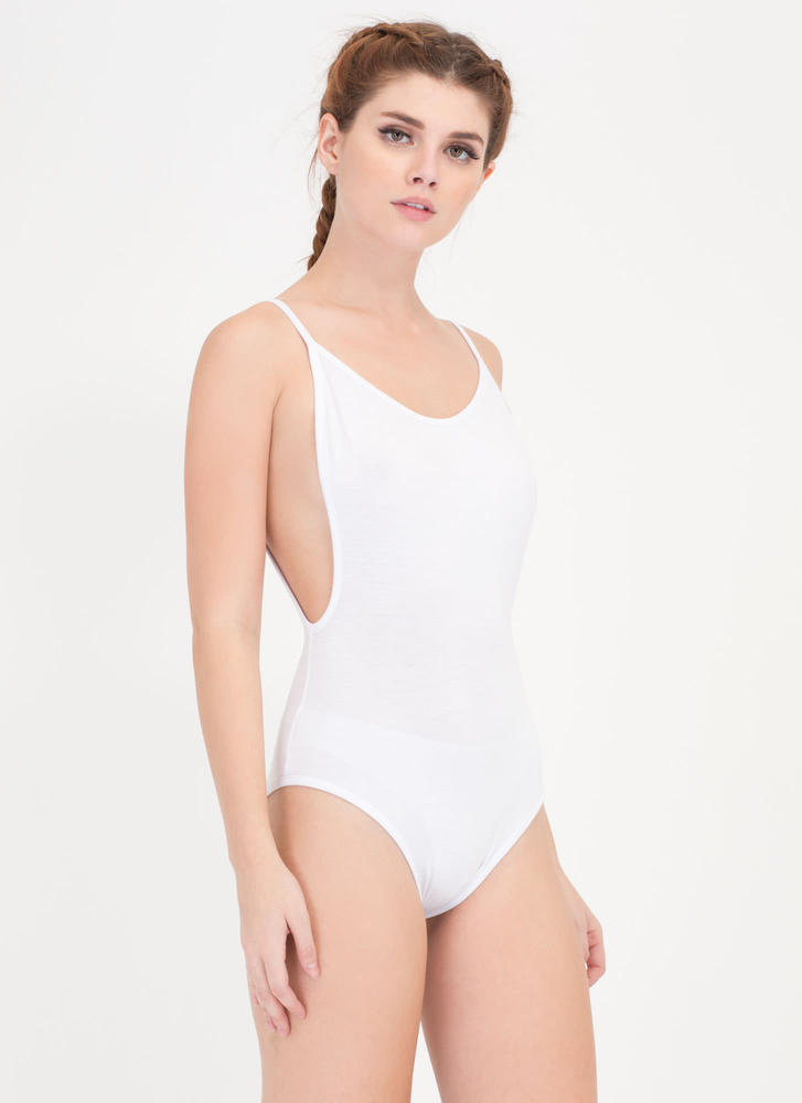 Use Your Muscle Open Back Bodysuit WHITE