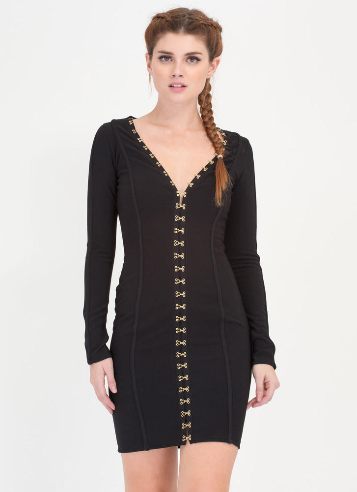 I'm Hooked Plunging Clasp Midi Dress BLACK