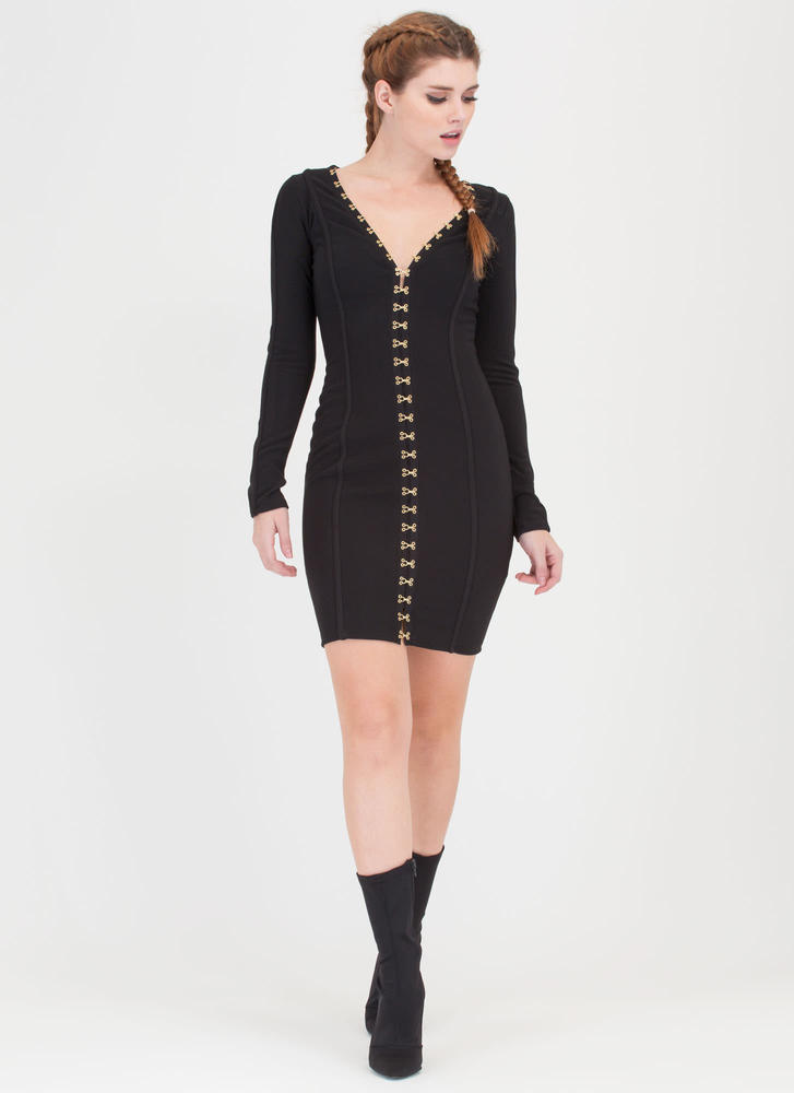 I'm Hooked Plunging Clasp Midi Dress BLACK (Final Sale)