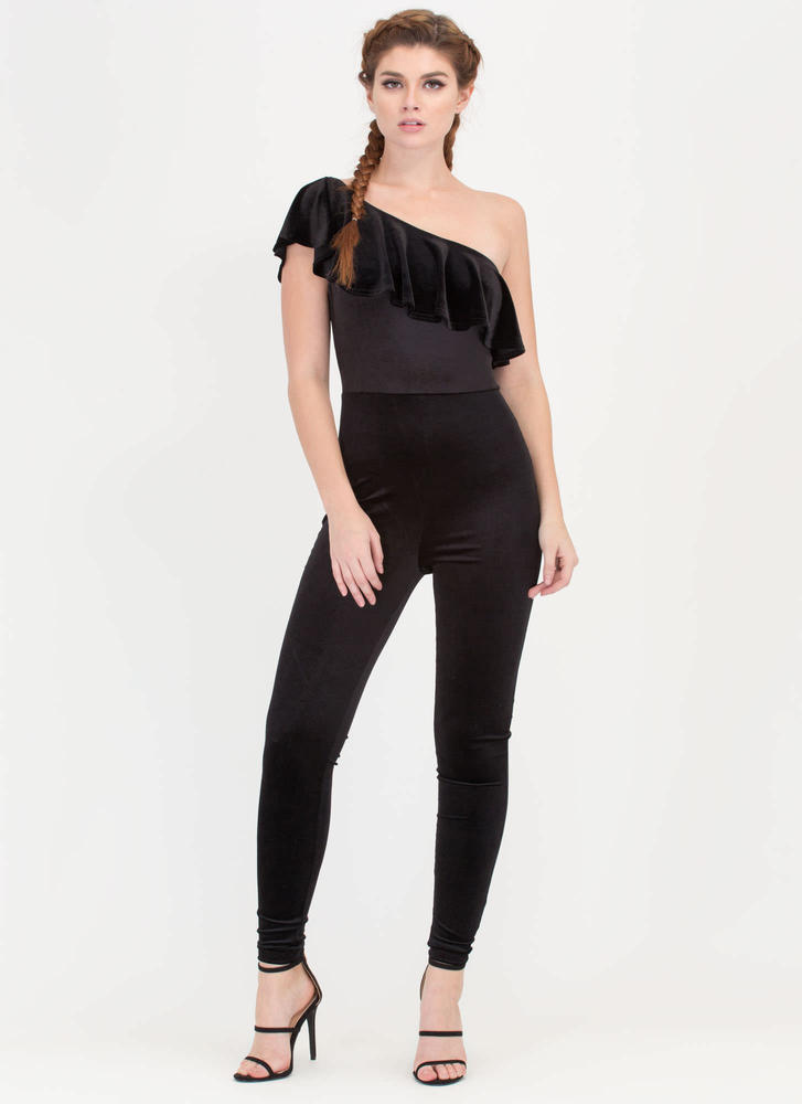 One-Up Ruffled Velvet Jumpsuit BLACK (Final Sale)