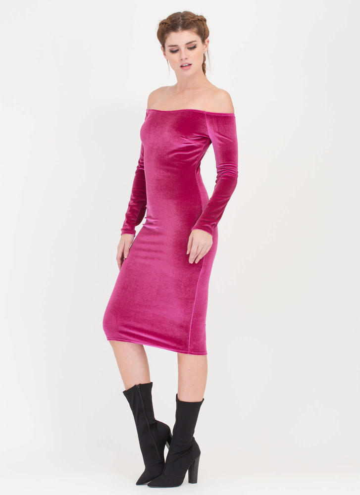 Plush It Velvet Off-Shoulder Midi Dress FUCHSIA