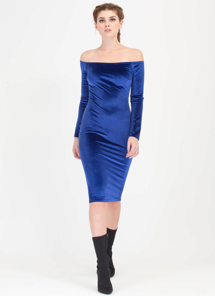 Plush It Velvet Off-Shoulder Midi Dress ROYAL