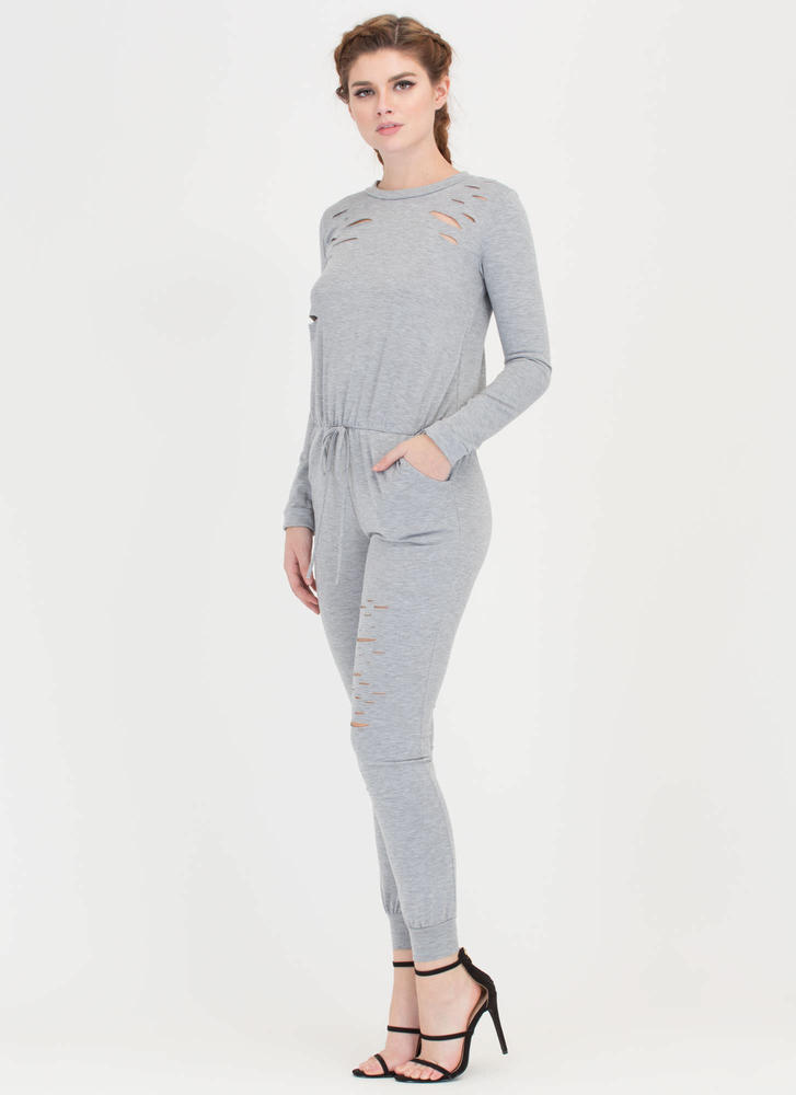 Superb Taste Slashed Jogger Jumpsuit GREY