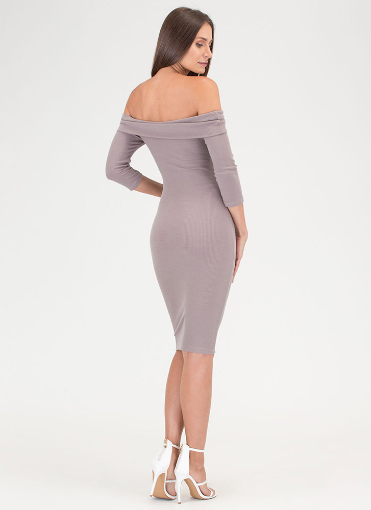 Lookin' Chic Ribbed Off-Shoulder Dress TAUPE