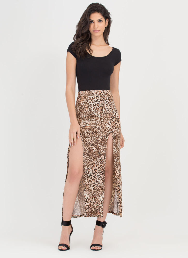 Spotted Wildcat Double Slit Maxi Skirt LEOPARD