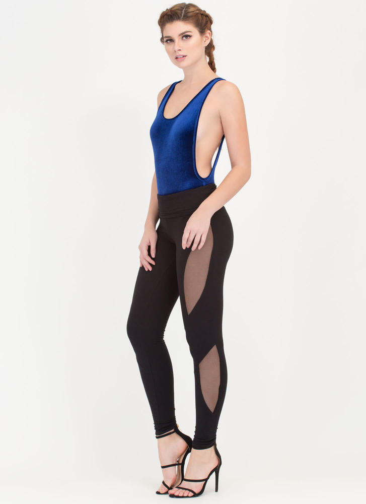 Sneak Chic Mesh Inset Leggings BLACK