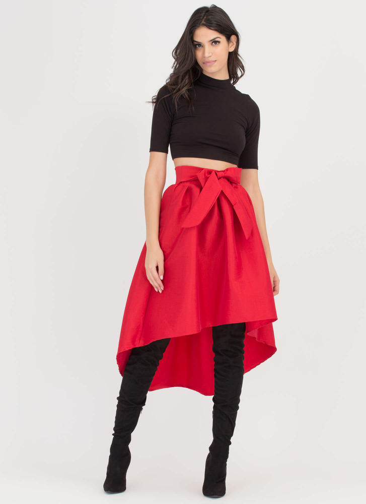 Give It A Twirl Flared High-Low Skirt