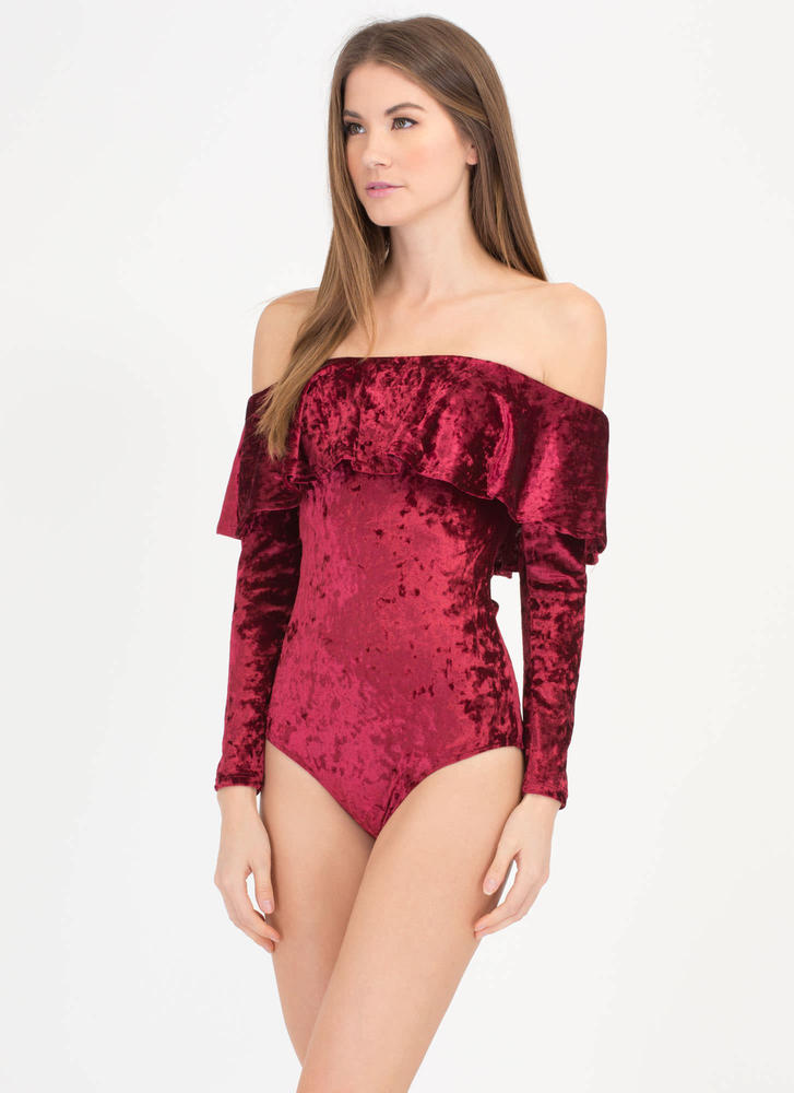 So Crushed Velvet Off-Shoulder Bodysuit