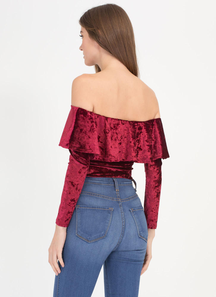 So Crushed Velvet Off-Shoulder Bodysuit BURGUNDY