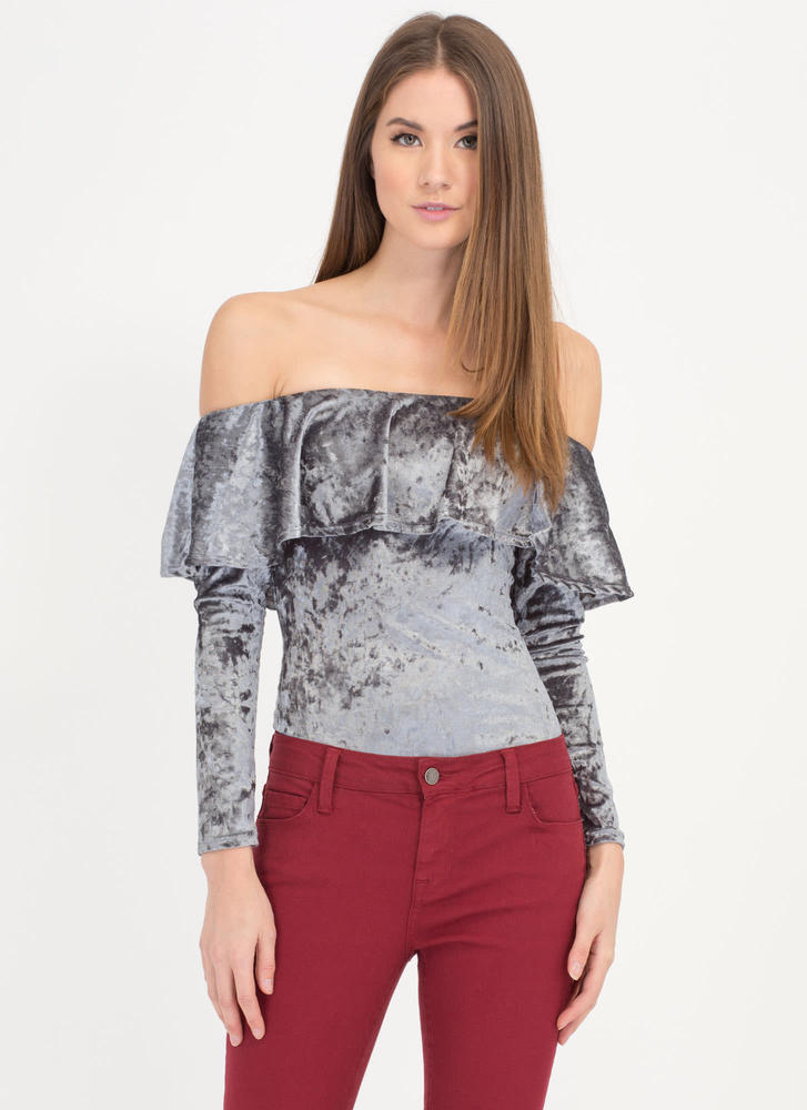 So Crushed Velvet Off-Shoulder Bodysuit GREY