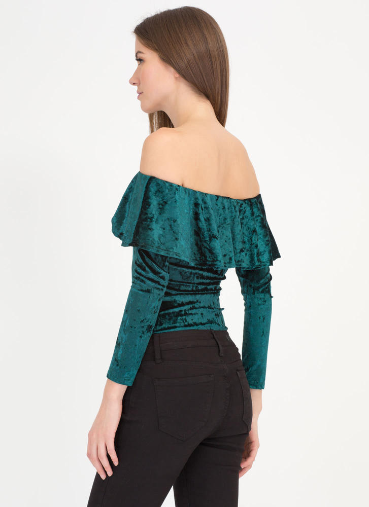 So Crushed Velvet Off-Shoulder Bodysuit HUNTERGREEN