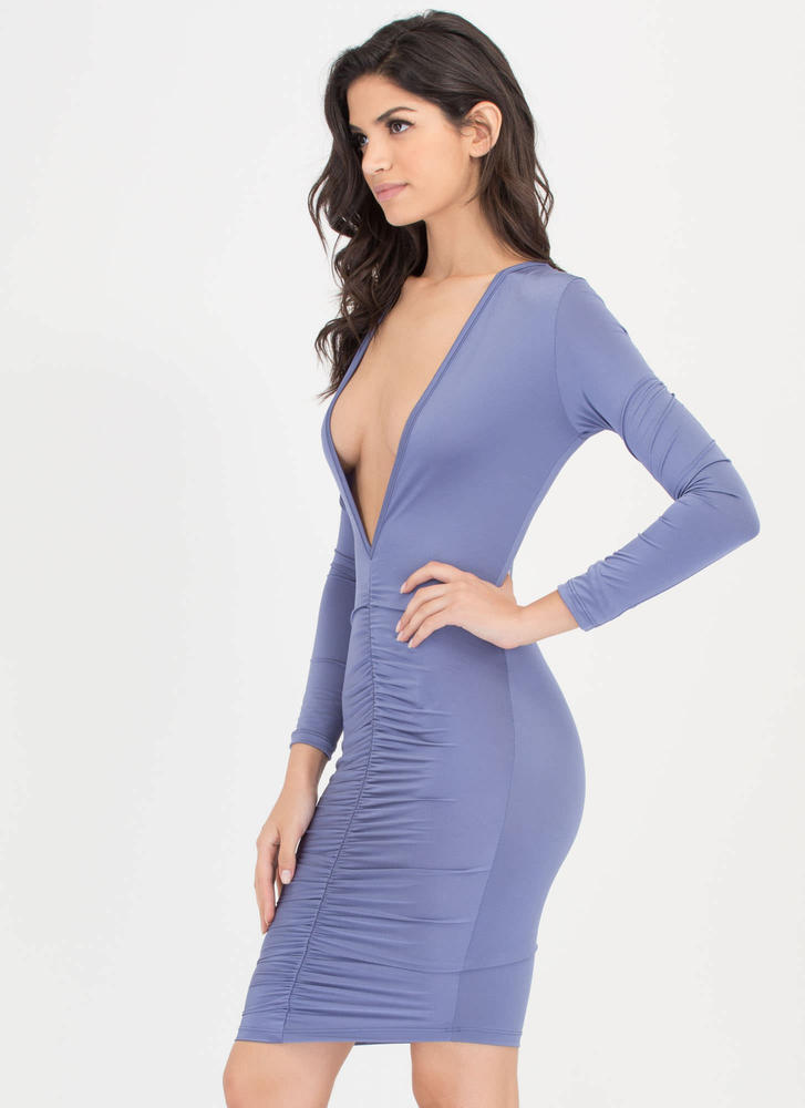 Hot Nights Plunging Ruched Bodycon Dress PERIWINKLE
