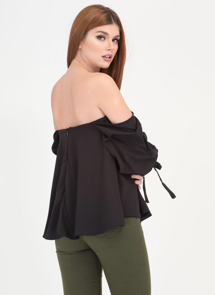 Just The Thing Tied Off-Shoulder Top BLACK