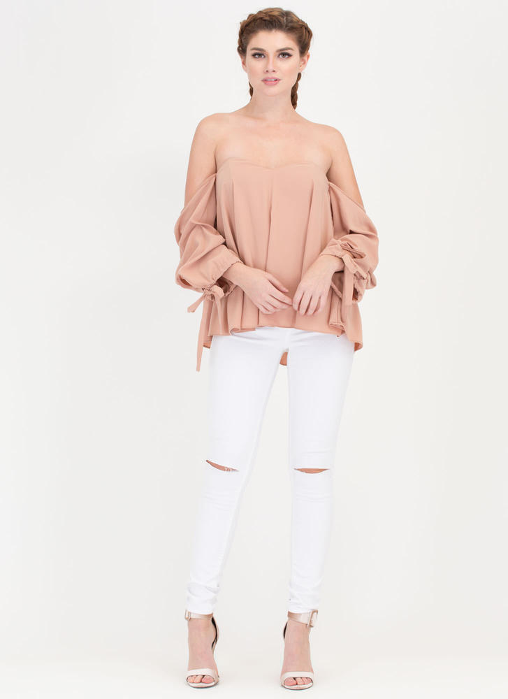 Just The Thing Tied Off-Shoulder Top MOCHA