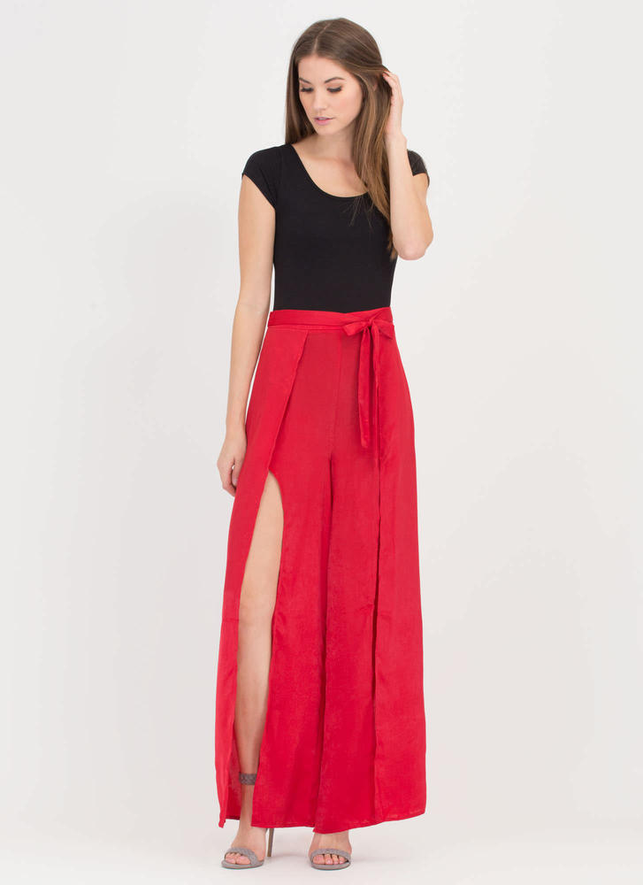 Dress To Impress Slit Palazzo Pants RED