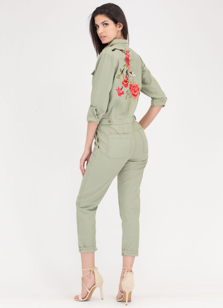 Fleur Days Embroidered Utility Jumpsuit