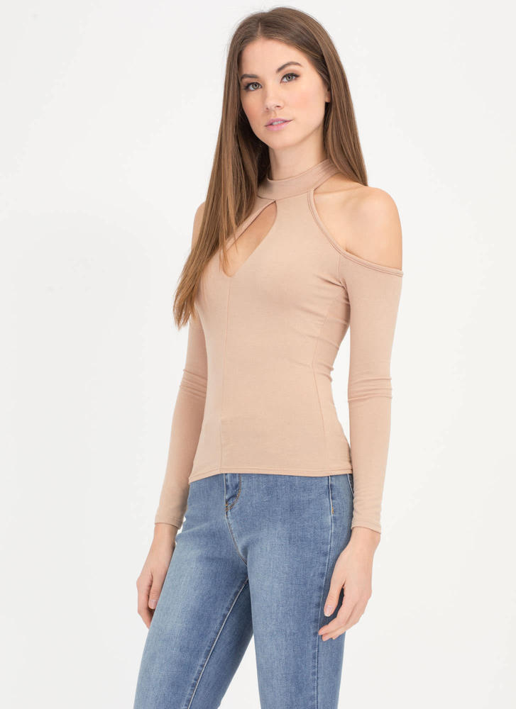 Cut To The Chase Cold-Shoulder Top TAUPE