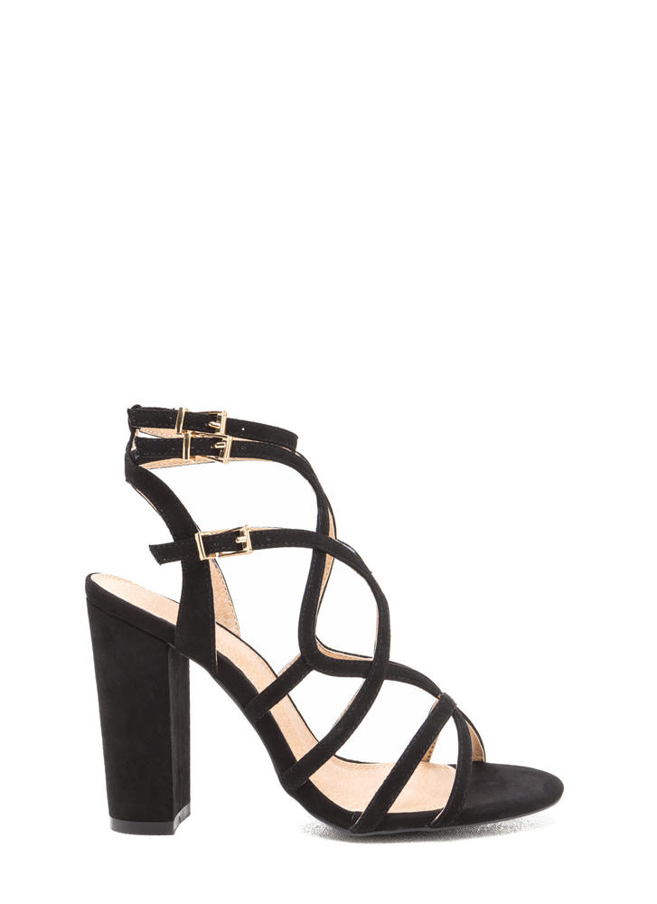 Go Figure Eight Chunky Caged Heels BLACK