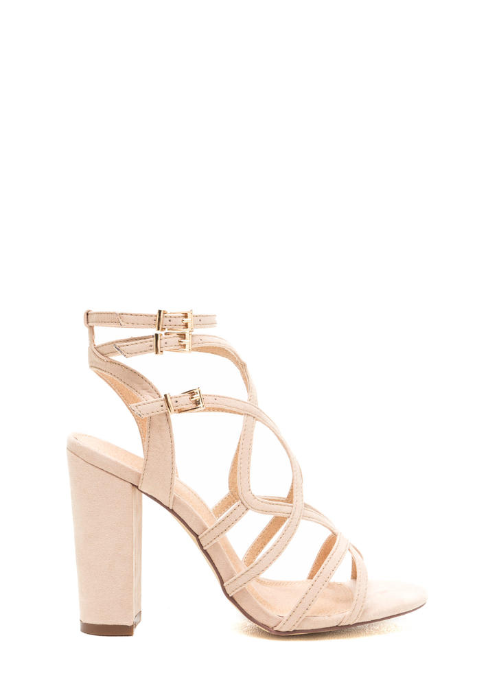 Go Figure Eight Chunky Caged Heels NUDE