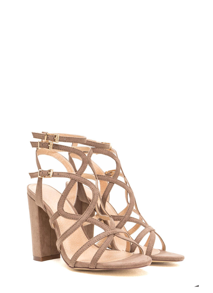 Go Figure Eight Chunky Caged Heels TAUPE