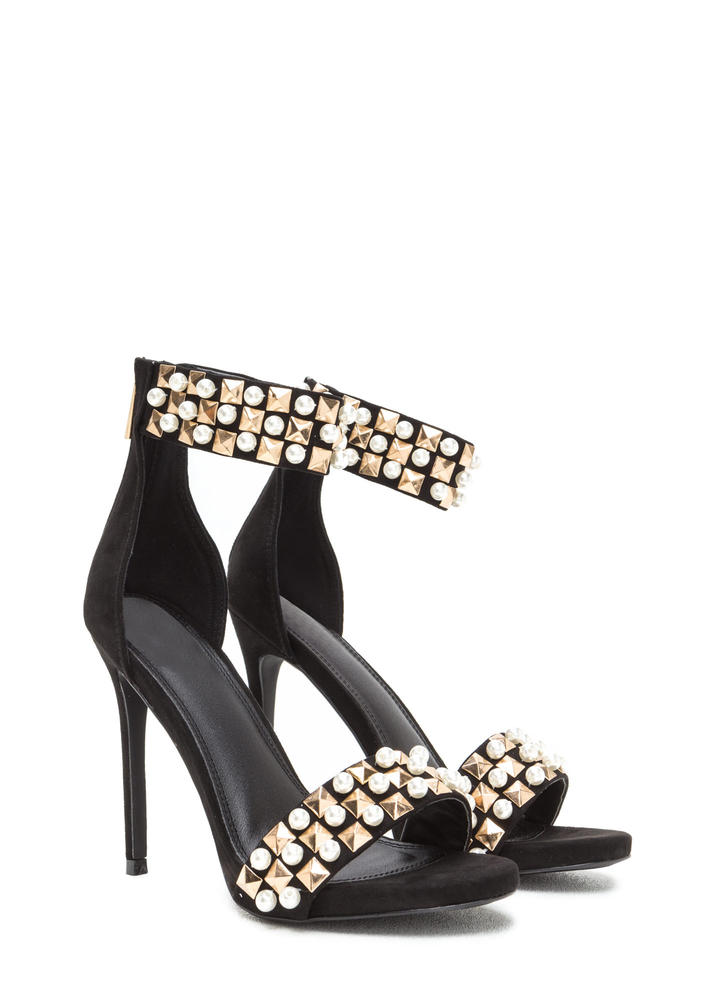 Pearls And Pyramids Ankle Strap Heels BLACK