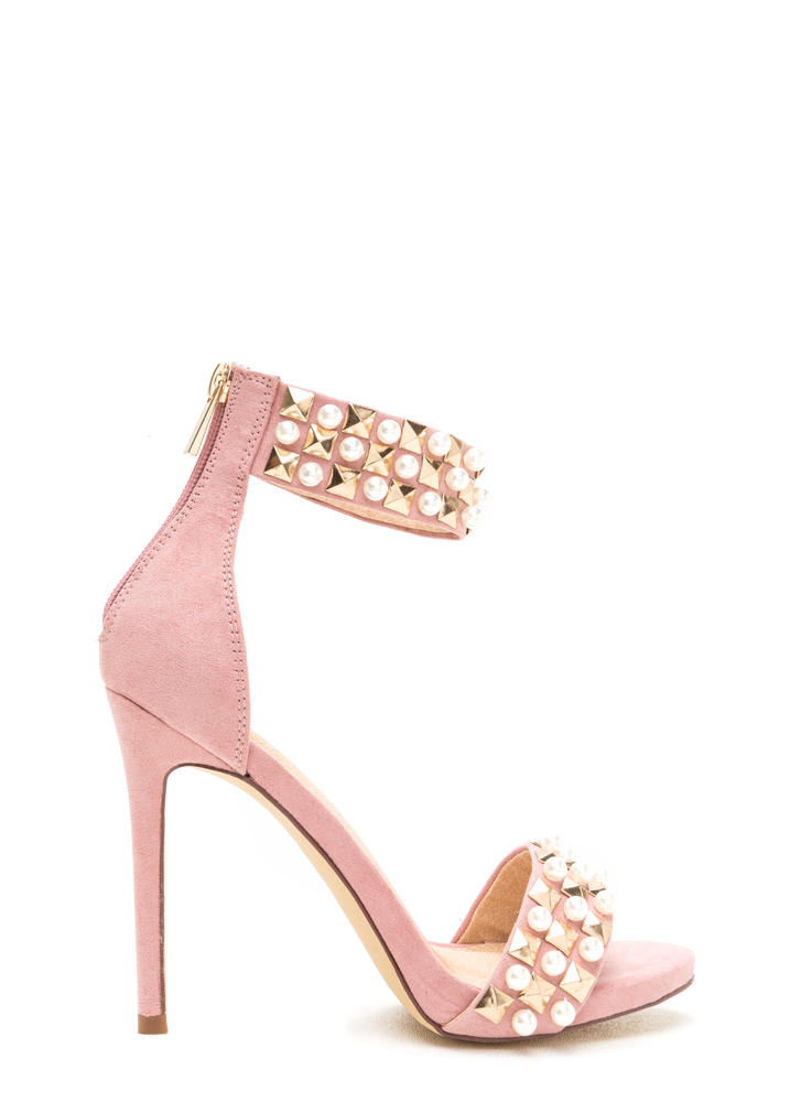 Pearls And Pyramids Ankle Strap Heels DUSTYPINK