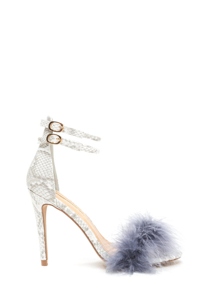 Furry Up Strappy Feathered Heels