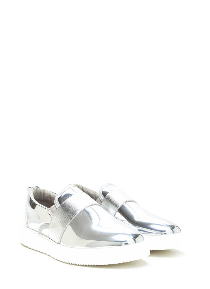 Add A Strap Metallic Slip-On Sneakers SILVER