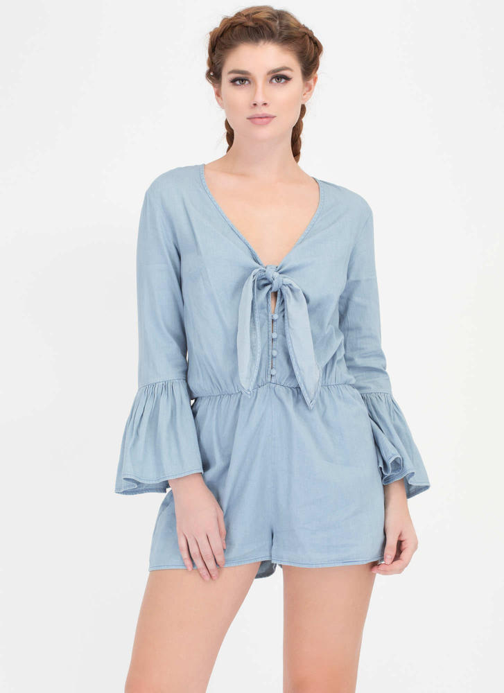 Knot Sure Chambray Bell Sleeve Romper LTDENIM