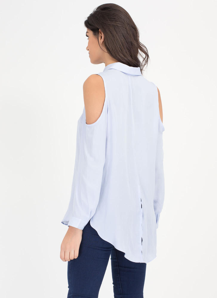 Uncommon Cold-Shoulder Collared Blouse BLUE