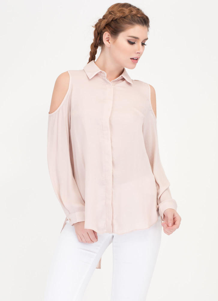 Uncommon Cold-Shoulder Collared Blouse DUSTYPINK