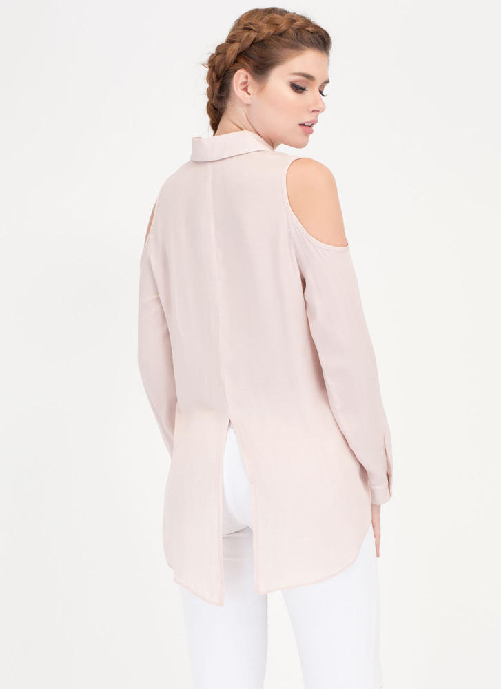 Uncommon Cold-Shoulder Collared Blouse DUSTYPINK (Final Sale)