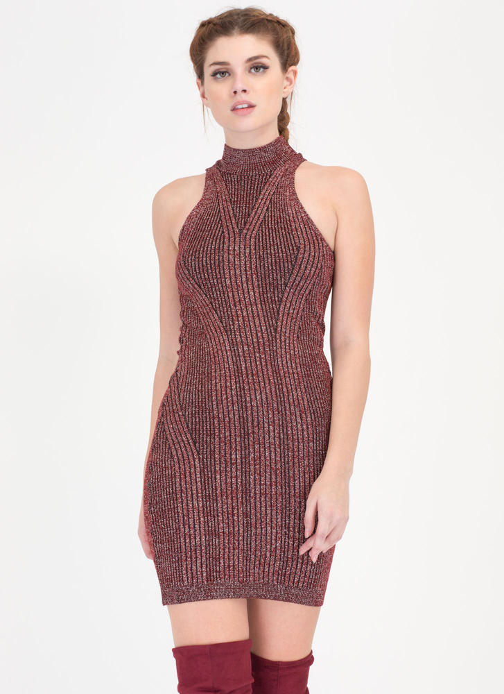 Glitter Party Rib Knit Tank Dress BURGUNDY