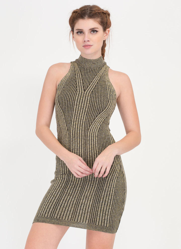 Glitter Party Rib Knit Tank Dress GOLD