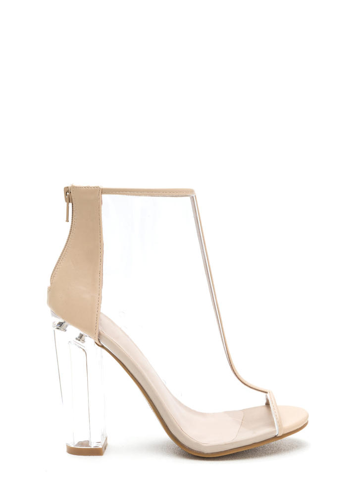 It's Clear T-Strap Chunky Lucite Booties NUDE