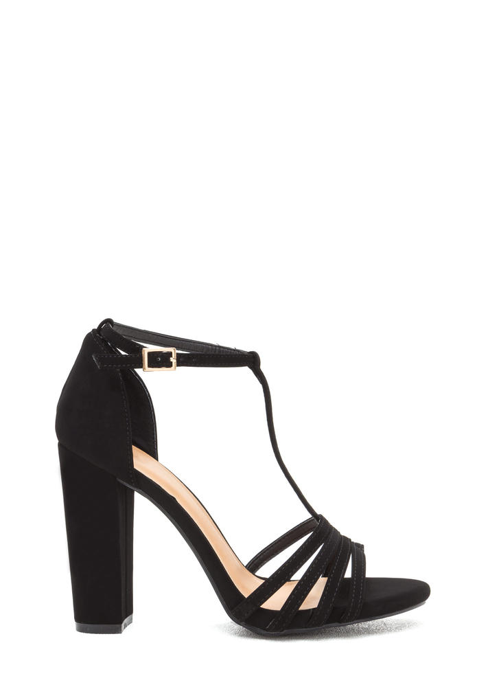 Chunky And Strappy Faux Nubuck Heels BLACK