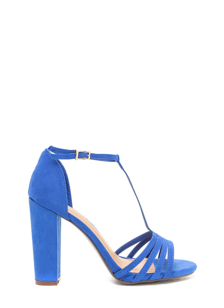 Chunky And Strappy Faux Suede Heels