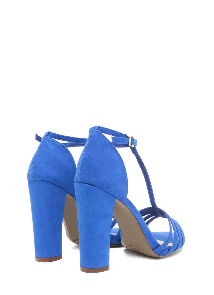 Chunky And Strappy Faux Suede Heels BLUE