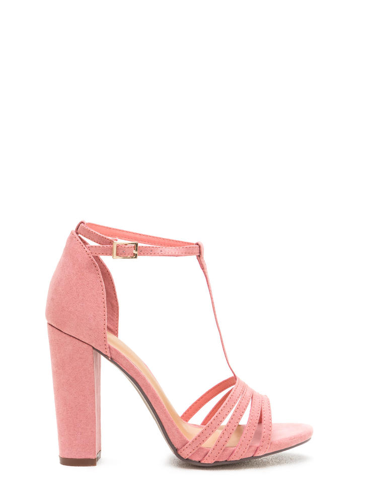 Chunky And Strappy Faux Suede Heels MAUVE