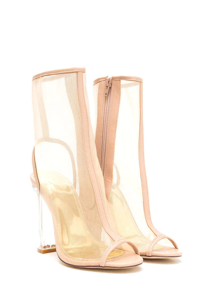 Mesh With Me Clear Chunky Booties NUDE